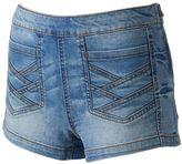 Mudd Juniors' Crisscross Denim Shortie Shorts