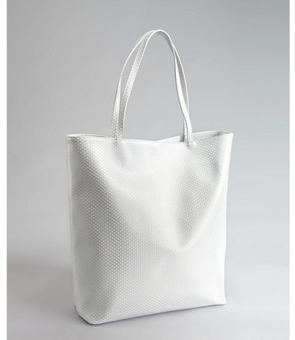 BCBGeneration silver snake embossed faux leather shopper tote