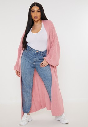 Missguided Plus Size Rose Maxi Batwing Knit Cardigan
