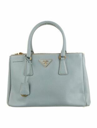 Prada Small Saffiano Lux Double Zip Galleria Tote Blue