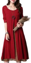Buckdirect Worldwide Ltd. Ruffles Linen Cotton Patchwork Long Sleeve Loose Dress
