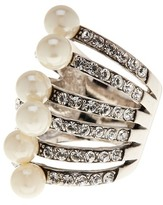Ariella Collection Simulated Pearl and Crystal Ring - Size 7
