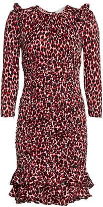 Michael Kors Ruched Leopard-Print Silk Dress