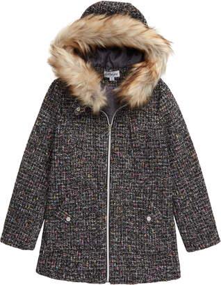 Coffee Shop Faux Fur Trim Hooded Coat