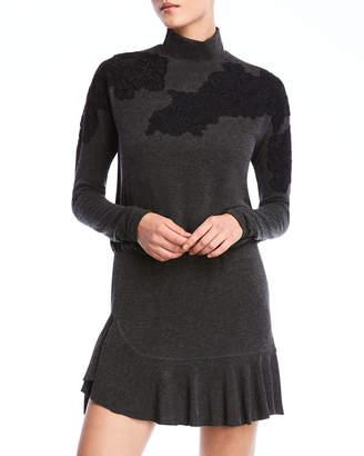 Bailey 44 Pippa Long-Sleeve Applique Flounce Dress