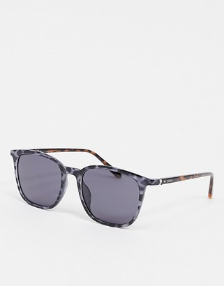 Fossil square sunglasses in blue tortoise shell