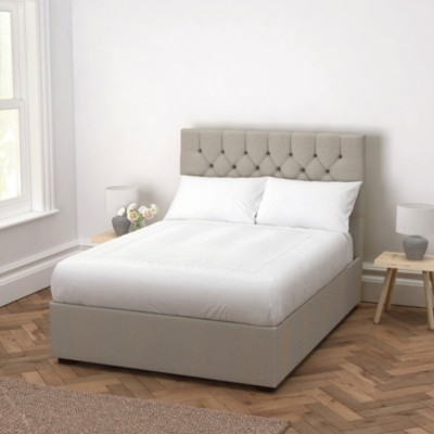 The White Company Richmond Wool Bed - Headboard Height 130cm, Light Grey Wool, Double