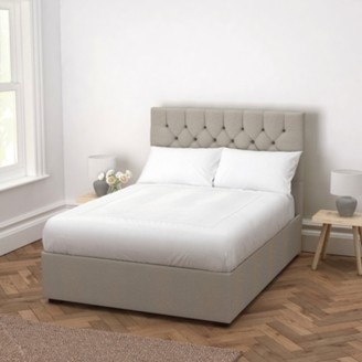 The White Company Richmond Wool Bed - Headboard Height 130cm, Light Grey Wool, Emperor