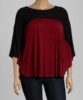 Celeste Black & Red Color Block Cape-Sleeve Top - Plus