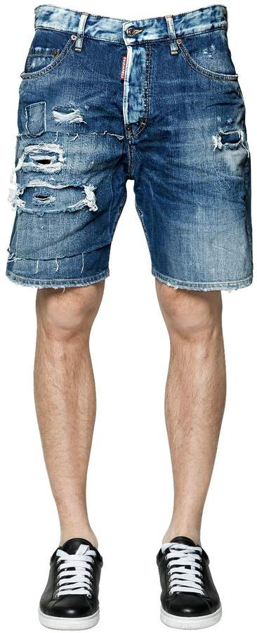 DSQUARED2 Destroyed Cotton Denim Shorts