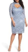 Marina Plus Size Women's Cutout Sequin Lace Sheath Dress