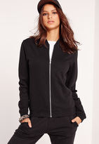 Missguided Tall Exclusive Jersey Bomber Jacket Black