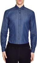 Z Zegna Printed Denim Slim Fit Button-Down Shirt