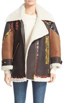 Burberry Women's Genuine Shearling Coat With Snakeskin Trim