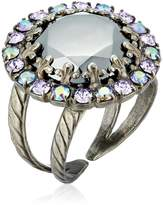 "Sorrelli Chantilly Lace"" Circular Cocktail Ring with Crystal Edge Accents"