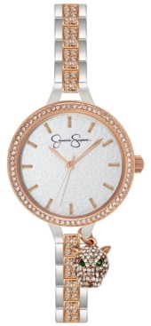 Jessica Simpson Women's Pave Crystal Panther Charm Two Tone Bracelet Watch 36mm