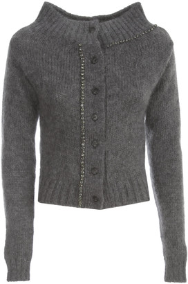 N°21 N.21 Mohair Wool Wide Neck Cardigan