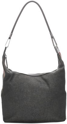 Gucci Gray Denim Web Shoulder Bag