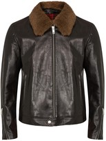 Alexander Mcqueen Dark Brown Shearling-trimmed Leather Jacket
