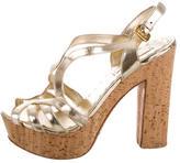Prada Metallic Platform Sandals