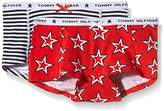 Tommy Hilfiger Girl's Star Stripe 2-Pack Short Starred Knickers,4