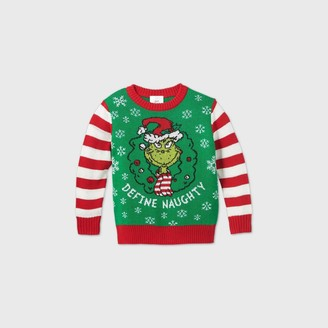 Dr. Seuss Toddler Boys' The Grinch Define Naughty Ugly Christmas Sweater -