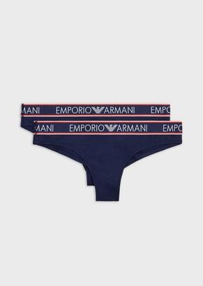 Emporio Armani Pack Of 2 Brazilian Briefs With Logo Waistband