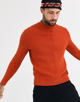 ONLY & SONS chunky cable high neck sweater in orange