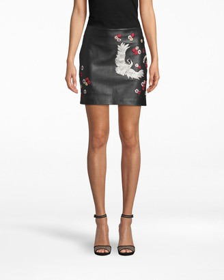 Nicole Miller Crane And Cherry Blossom Leather Mini Skirt