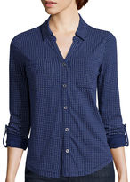 Liz Claiborne 3/4-Sleeve Button-Front Knit Shirt
