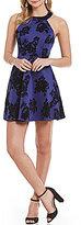 B. Darlin Floral Pattern Flocked A-line Dress
