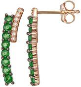 Emerald & Diamond Accent 10k Gold Ear Climber Earrings