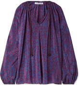 Elizabeth and James Chance Printed Silk Blouse - Purple