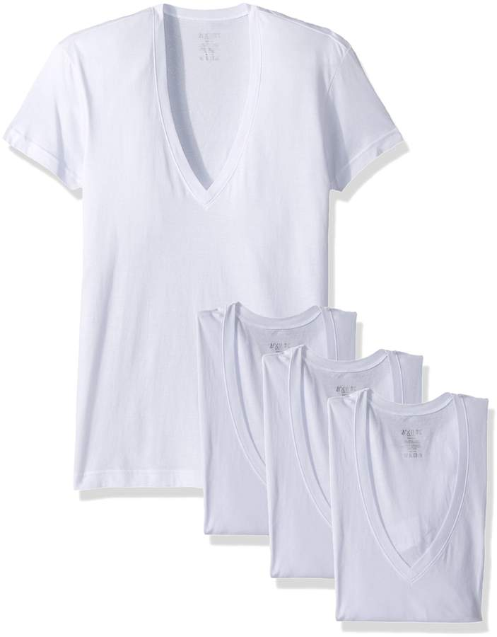 2xist Men's Essential Slim Fit Deep V Neck T-Shirts - 3 Pack Underwear, Natural