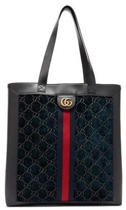 Gucci Gg Velvet And Leather Tote Bag - Mens - Blue Multi
