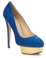 Charlotte Olympia Dolly Metallic-Platform Suede Pumps