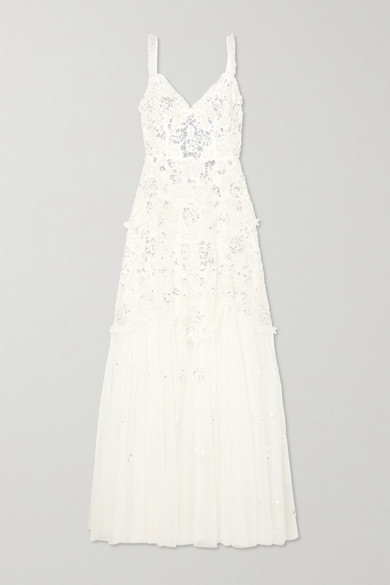 Needle & Thread Ruffled Sequin-embellished Tulle Gown - Ivory