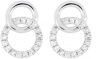 Carriere Sterling Silver Pave Diamond Interlocking Circle Earrings - 0.09 ctw