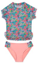 Hula Star Girl's 'Rose Tango' Two-Piece Rashguard Swimsuit