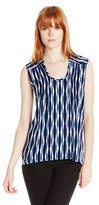 Plenty by Tracy Reese Women's Indigo Batik Stripe Sleeveless Kurta Top