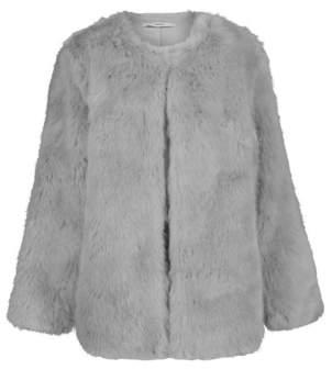 George Grey Collarless Faux Fur Coat