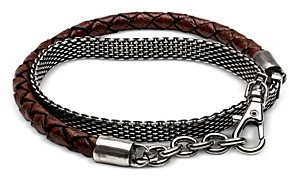The Monotype Silver-Plated Brass Derek Braided Mesh Leather Bracelet