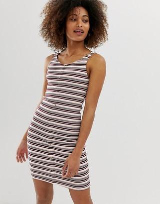 Only jersey mini dress in stripe rib-Multi
