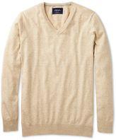 Charles Tyrwhitt Stone Cotton Cashmere V-Neck Jumper Size XL