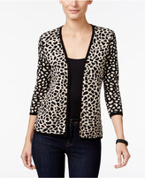 JM Collection Petite Cheetah-Print Flyaway Cardigan, Only at Macy's