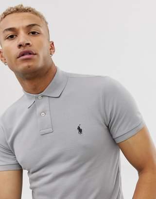 Polo Ralph Lauren player logo pique polo slim fit in light grey