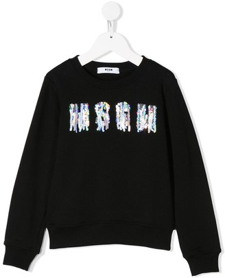 Msgm Kids Sequin Logo Crew-Neck Sweatshirt