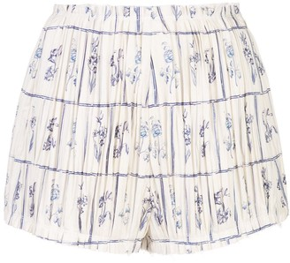 KHAITE Hilary floral tile-print pleated shorts