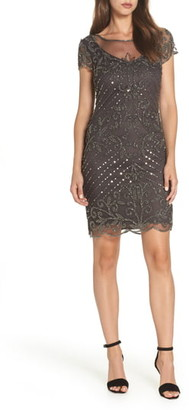 Pisarro Nights Beaded Illusion Yoke Sheath Dress