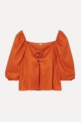 Cult Gaia Aurel Lace-up Linen Top - Bright orange